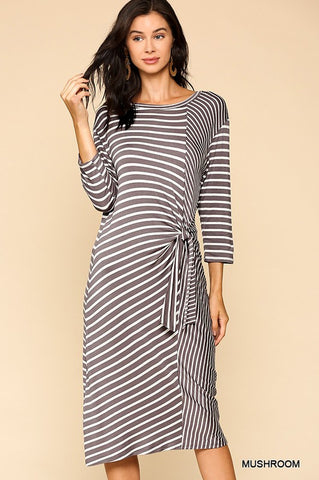 LALY - STRIPED 3/4 SLEEVE DRESS