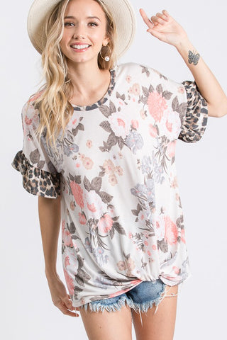 LM104 - FLORAL/ANIMAL PRINT RUFFLE TOP