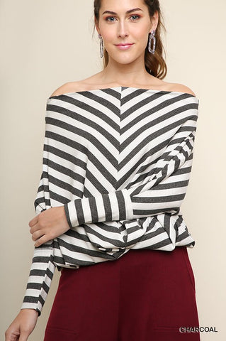 MIMI - L/S STRIPED OFF SHOULDER TOP