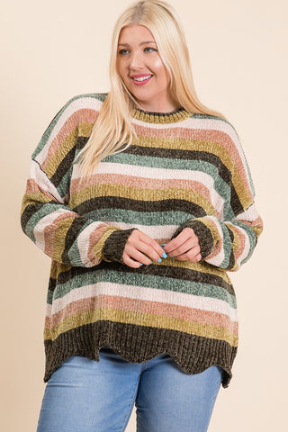 OONA - CURVY STRIPED CHENILLE SWEATER