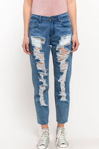 POL18 - DISTRESSED ANKLE JEAN