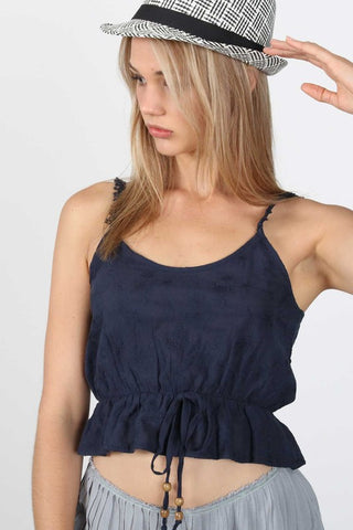 POL23 - NAVY CROP TOP