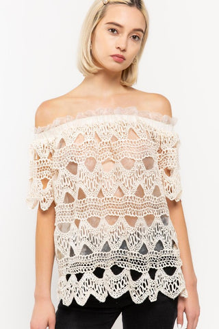 POL25 - OFF SHOULDER LACE TOP