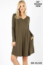 DRESS L/S VNECK W/POCKETS - ZERD-1403P