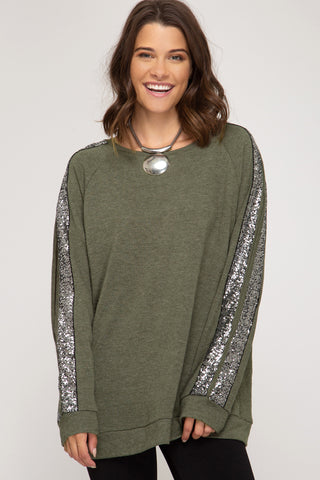 SS126 - SEQUIN TRIM SWEATSHIRT