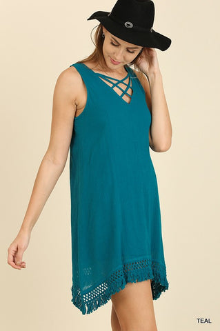 TEAL A-LINE DRESS - UMA3099
