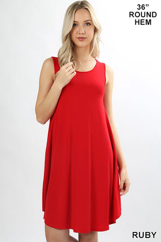 ZE16 - SLEEVELESS ROUND HEM DRESS