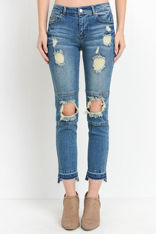 ATA  - DISTRESSED CROPPED JEANS