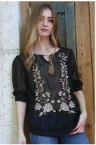 LISA - BLACK EMBROIDERED BLOUSE