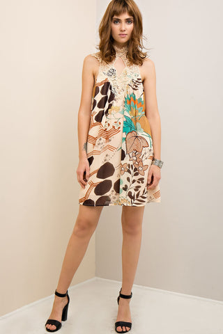 LEAH - NATURAL PRINT SHIFT DRESS