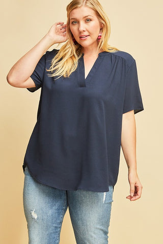 CURVY NAVY TOP -EN3596