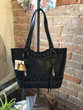 BESSIE - BLACK LEATHER HANDBAG