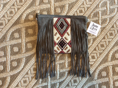 Crossbody Grey beaded Fringe Bag