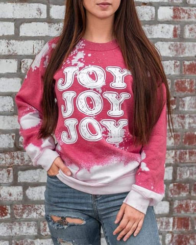JOY - RED BLEACHED SWEATSHIRT