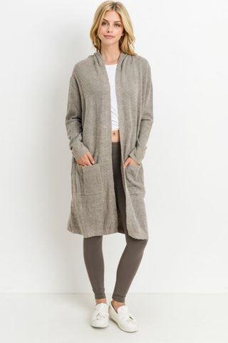 PIPPER - LONG HOODED CARDIGAN