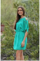 MAE - GREEN COLD SHOULDER DRESS
