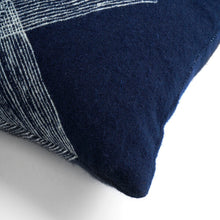 Load image into Gallery viewer, Navy Linear Diamonds cushion - lumbar