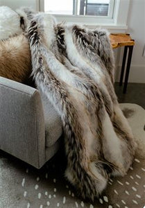 Limited Edition Tundra Wolf Faux Fur Throw