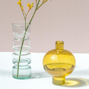 Vase recycled glass round Amber