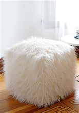 Load image into Gallery viewer, Ivory Tibetan Lamb Faux Fur Pouf