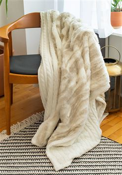 Ivory Cable Knit & Faux Fur Throw