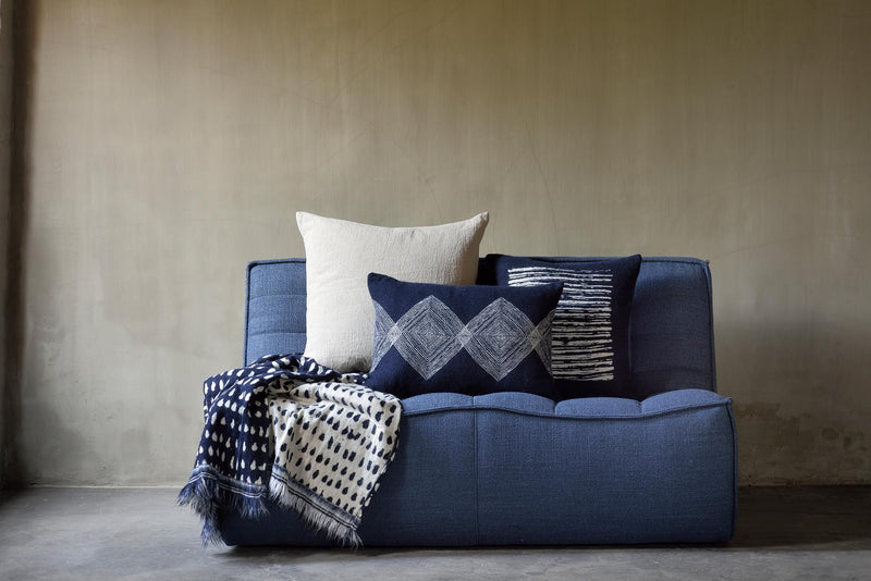 Navy Linear Diamonds cushion - lumbar