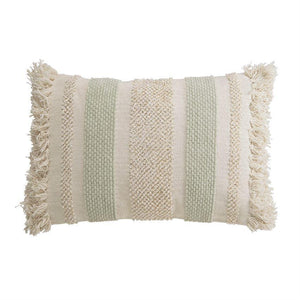 COTTON & CHENILLE LOOPED FRINGE LUMBAR PILLOW