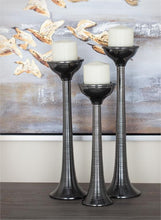 Load image into Gallery viewer, Dark Silver Pillar Candle  Holder Set/ 3