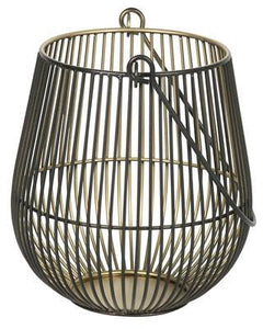 IRON WIRE TWO-TONE ELAINE CANDLE HOLDER BLACK/GOLD