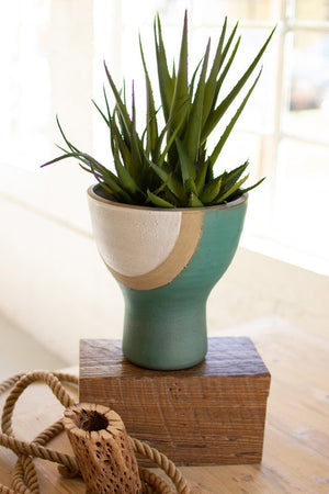 Short white, tan and turquoise ceramic vase