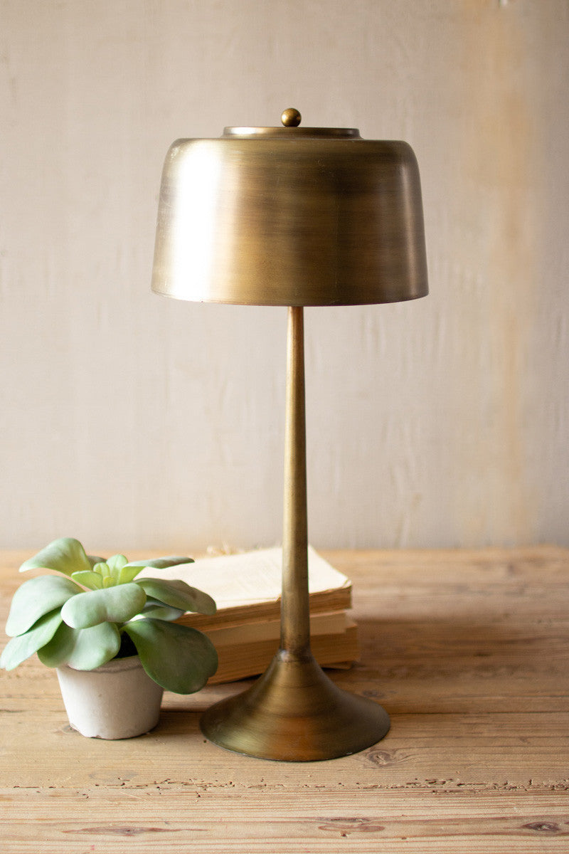 Tall antique brass table lamp with brass shade