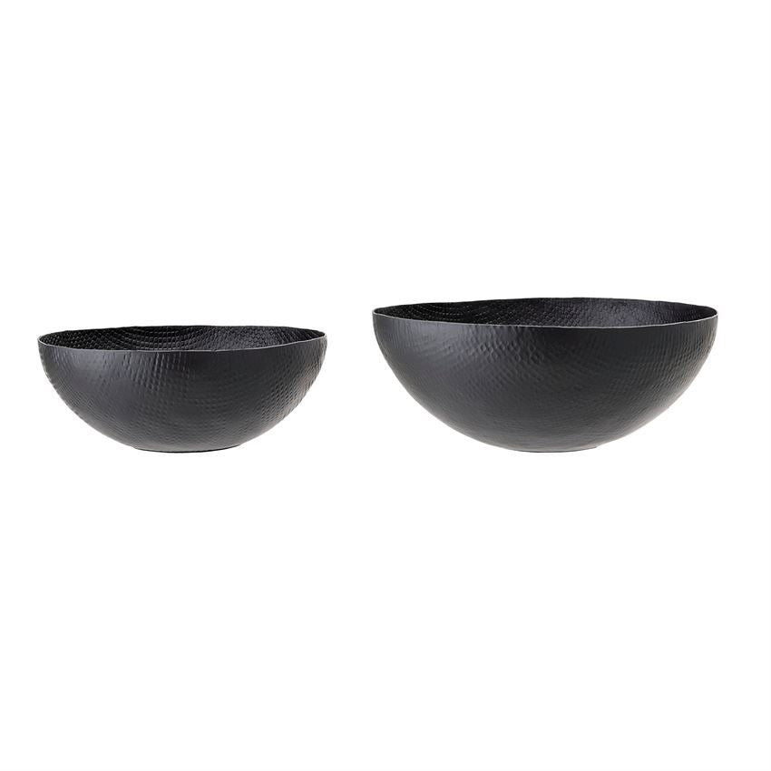 15-1/4 Black Hammered Metal Bowl Set