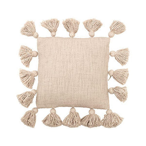 Square Cotton Pillow w/ Tassels, Cream