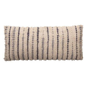 Lumbar Pillow w/ Tie-Dyed Stripes, Blue & Natural