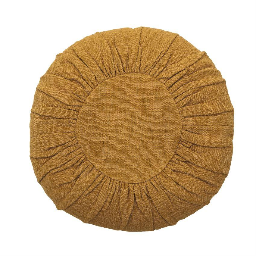 Round Cotton Pillow, Mustard Color