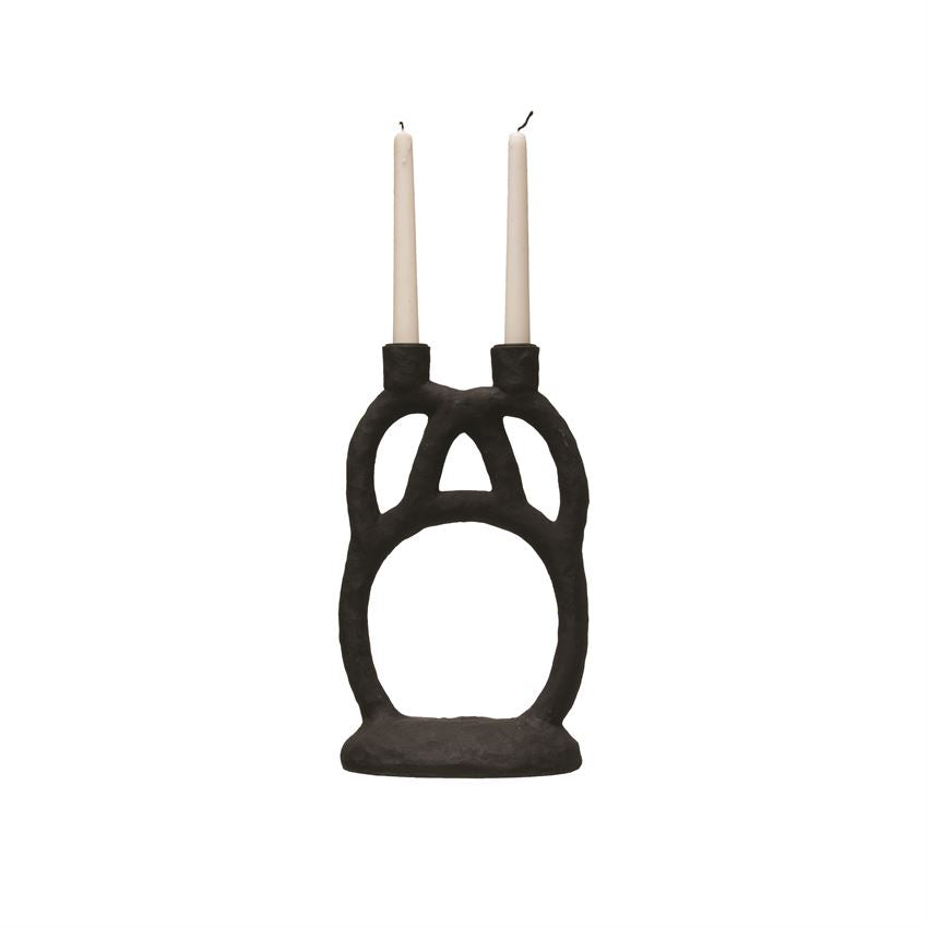 Double Black Taper Candle Holder