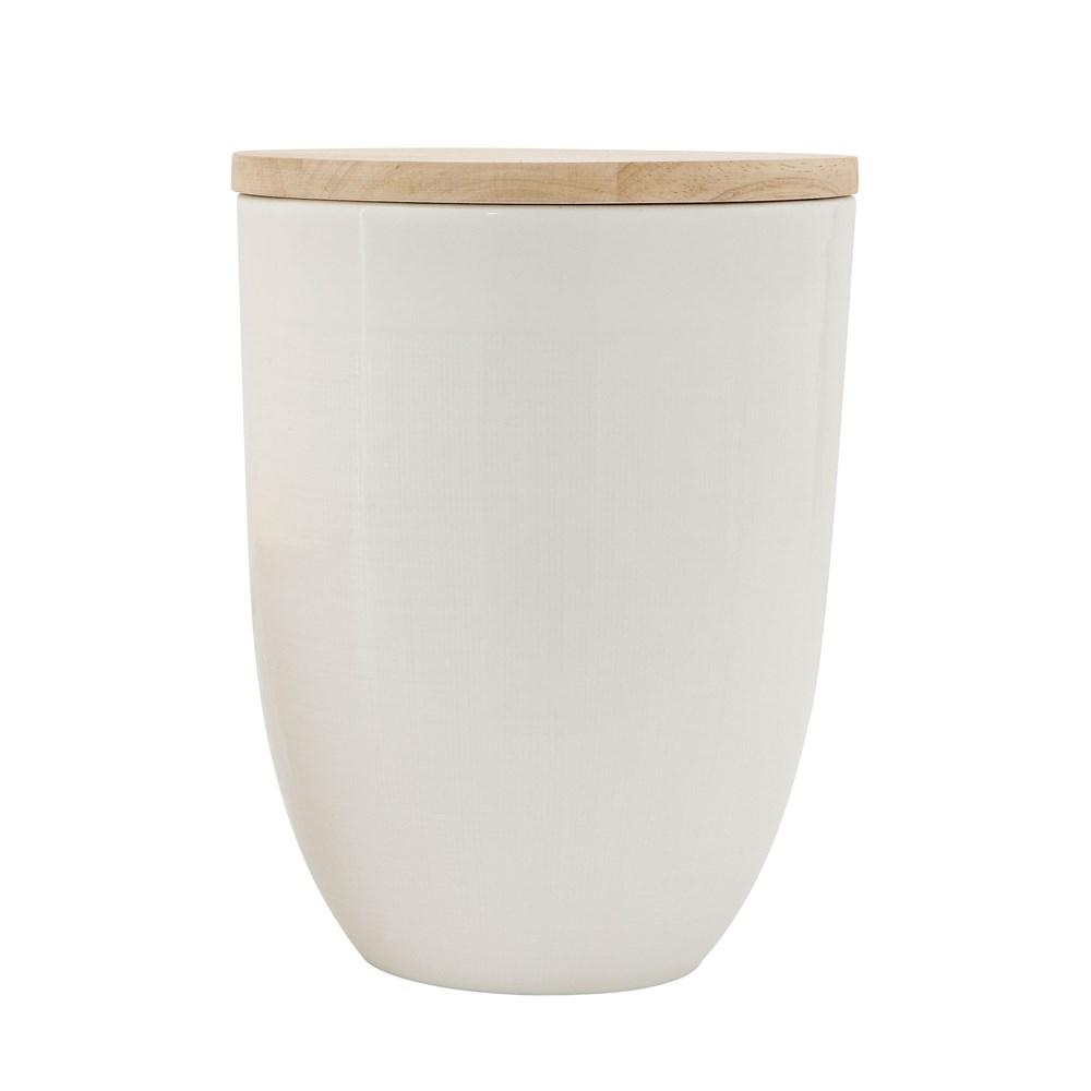 Ceramic Canister w/ Wood Lid, White