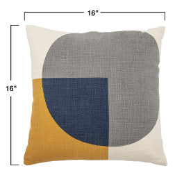 Square Pillow with Mustard & Blue Shapes