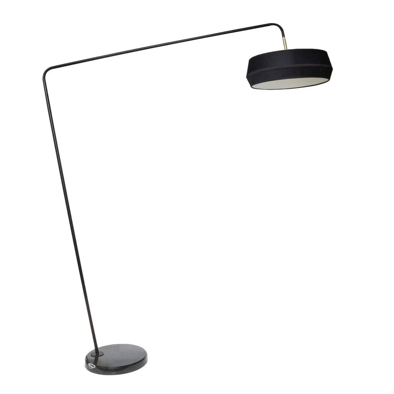 Us-Floorlamp Marble Base Black Shade & Led Bulb