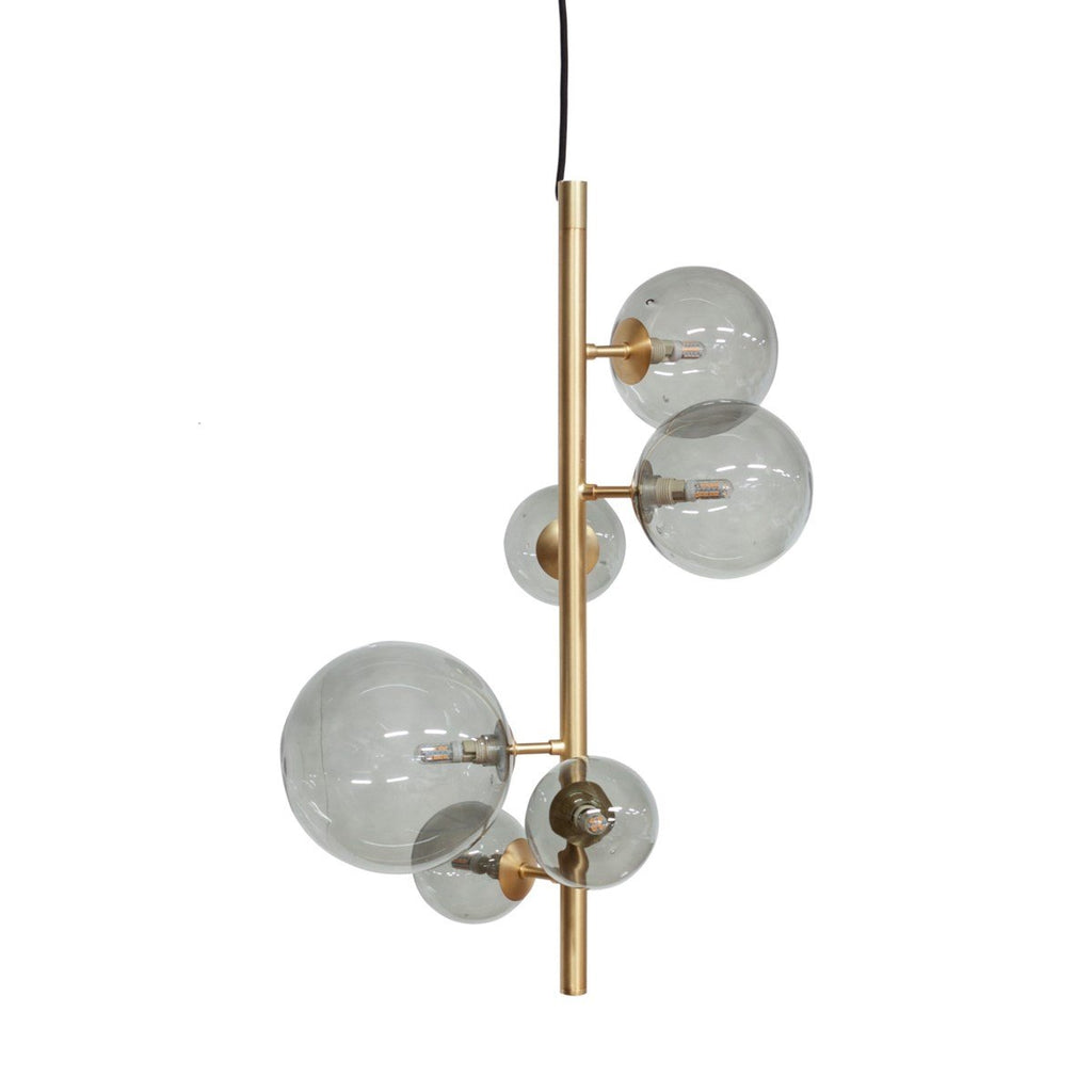Us-Pendant With 6 Smoke Glasses & Led Bulb