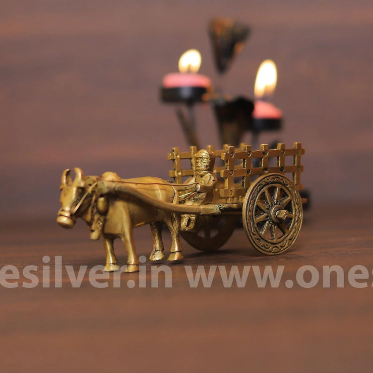 onesilver Brass Home Decor Brass Bull Cart Small