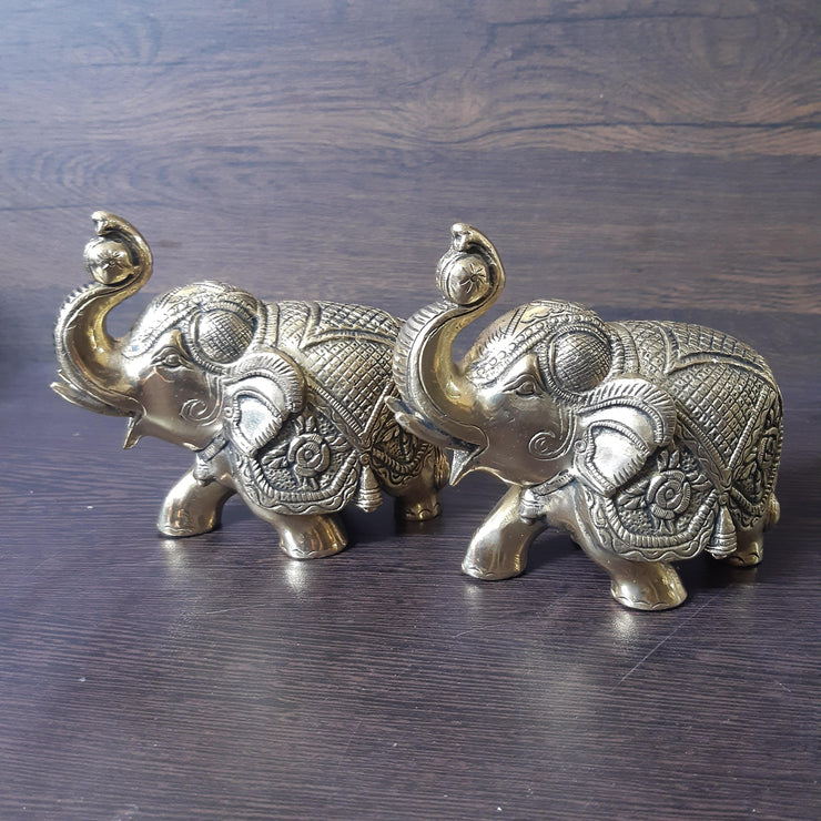 onesilver deepam Brass Elephant pair5 inches