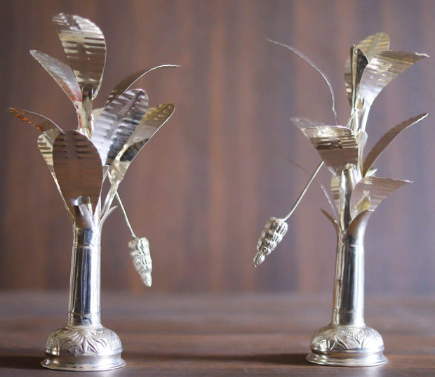 "onesilver.in german silver Banana Tree 10"" Pair"