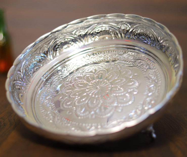 onesilver.in german silver Nakam Pooja Plate With Stand 9""