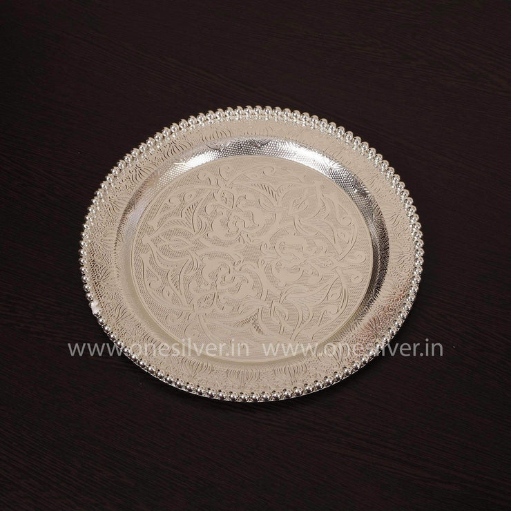 onesilver.in german silver Pearl Round Tray GT 144