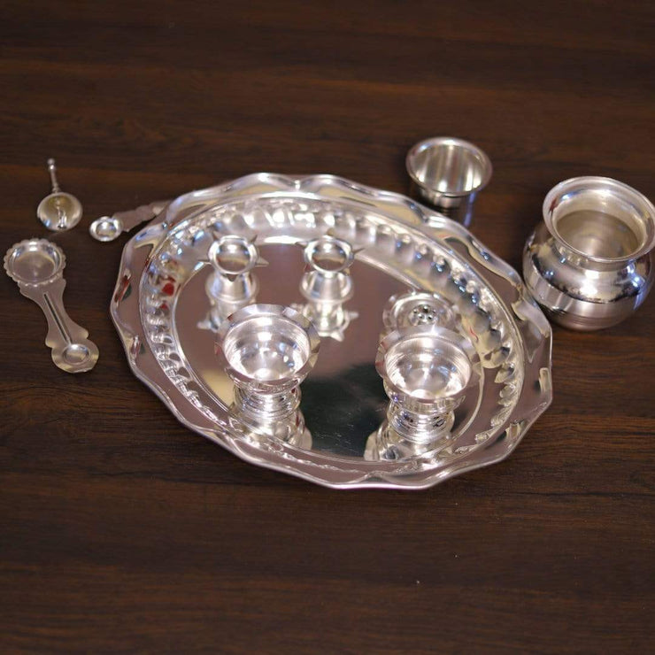 onesilver.in german silver Silver plated Classic pooja  Set