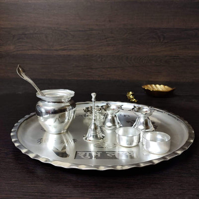 onesilver.in german silver Silver plated pooja Thali set