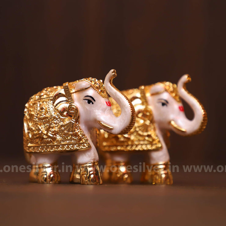 onesilver.in gift set Meena Elephant Pair Medium 3""