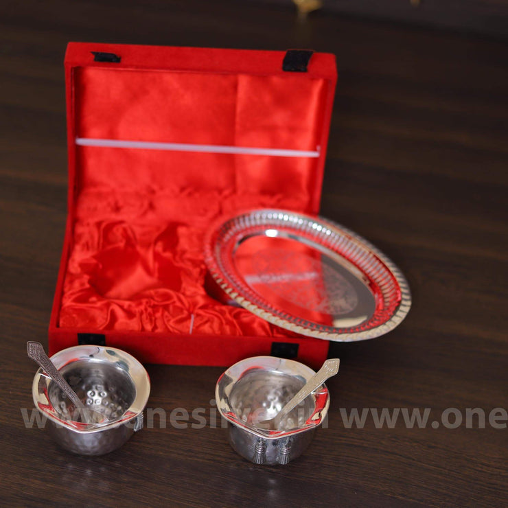 onesilver.in gift set Two cup Plate Gift Set