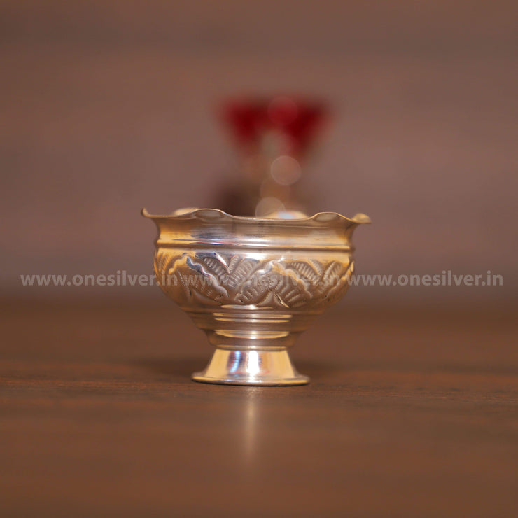 onesilver.in GS Kumkum Bowl With Stand Pair
